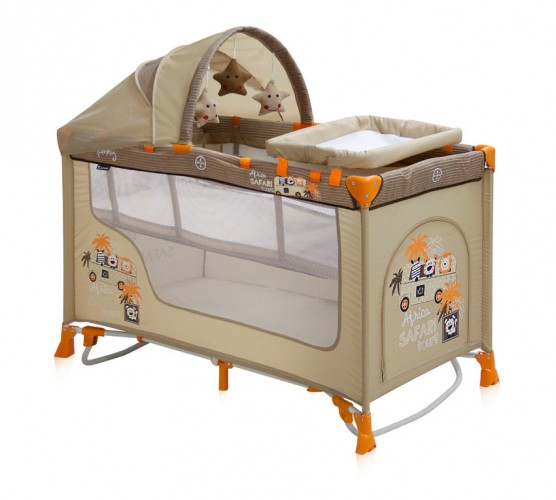Манеж кровать Bertoni (Lorelli) Nanny 2 Plus Rocker  Beige Safari Tours
