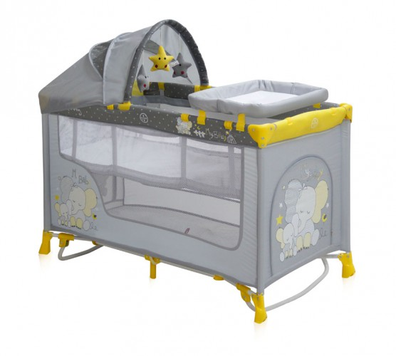 Манеж кровать Bertoni (Lorelli) Nanny 2 Plus Rocker  Yellow Elephants