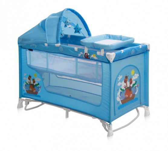 Манеж кровать Bertoni (Lorelli) Nanny 2 Plus Rocker  Blue Adventure